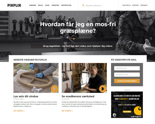 Netfront har hjulpet Fixflix med hjemmeside og design af nyhedsbrev.