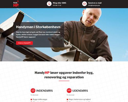 Et af de mere enkle projekter fra Netfront: en landing page designet og udviklet i samarbejde med HandyHP.